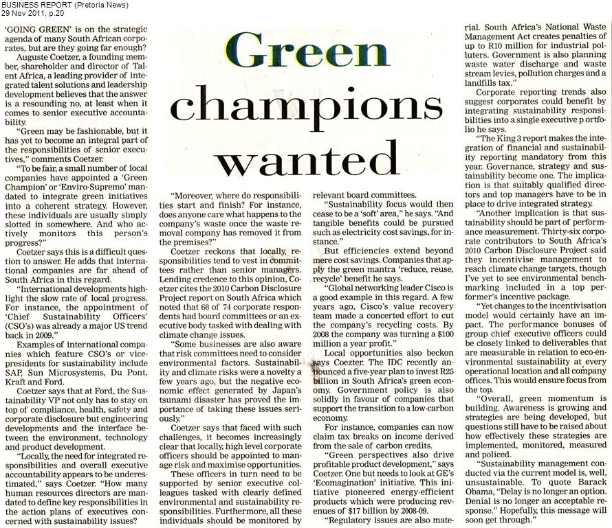 Green champions wanted Business Report Pretoria News 29 November